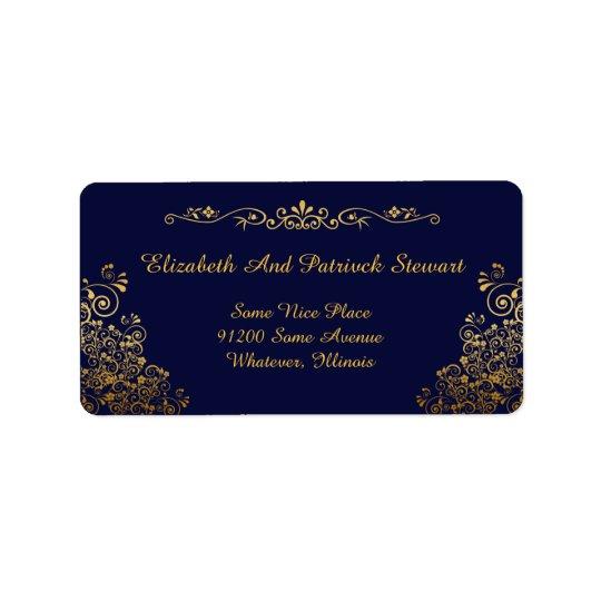 Transporte à moda elegante dourado retro do etiqueta de endereço