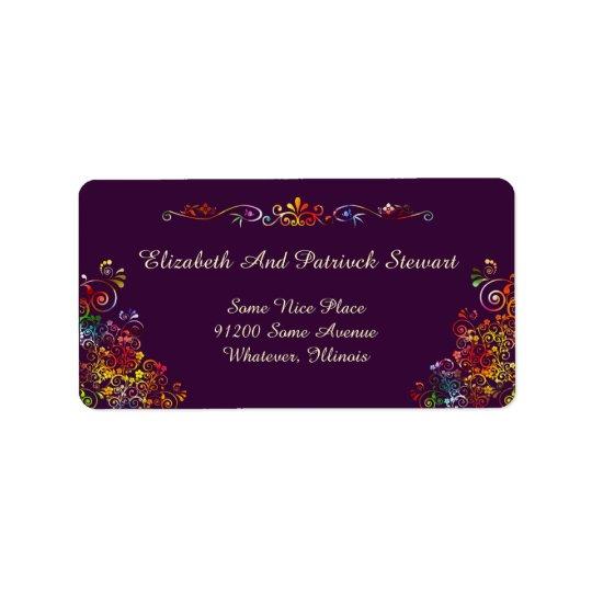 Transporte à moda elegante floral retro do etiqueta de endereço