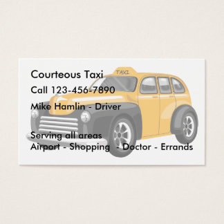 Transporte do táxi cartão de visitas