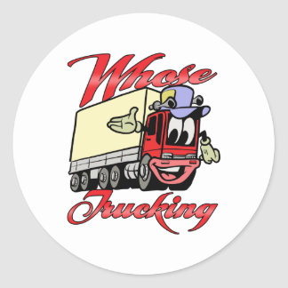 Transporte por caminhão dos miúdos adesivo redondo