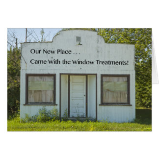 Tratamentos de janela - mudança de endereço cartão comemorativo
