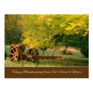 Trator/cartão antigos da acção de graças cartões postais