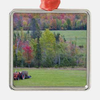 Trator com o pacote de feno no campo verde com ornamento quadrado cor prata