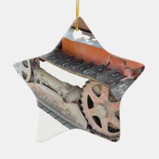 Trator de esteira rolante italiano velho ornamento de cerâmica estrela