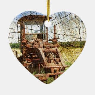 trator de fazenda antigo ornamento de cerâmica coração