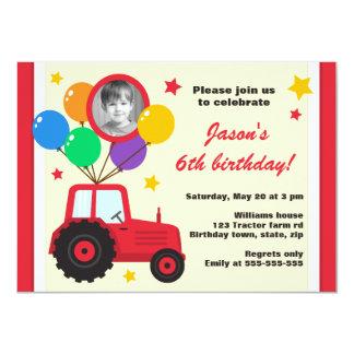 Trator de fazenda com a foto do aniversário de convite personalizados