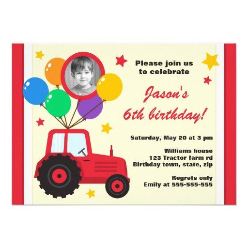 Trator de fazenda com a foto do aniversário de cri convite personalizados