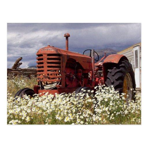 Trator de fazenda do vintage no cartão da foto do cartao postal