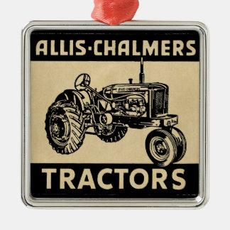 Trator de fazenda do vintage ornamento quadrado cor prata