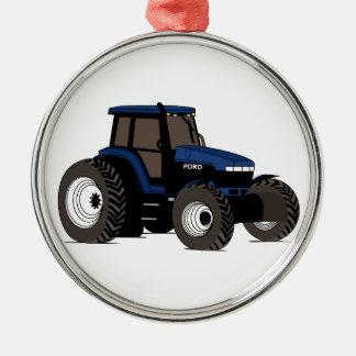 Trator de fazenda ornamento redondo cor prata