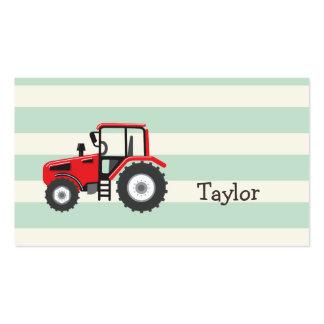 Trator de fazenda vermelho cartão de visita
