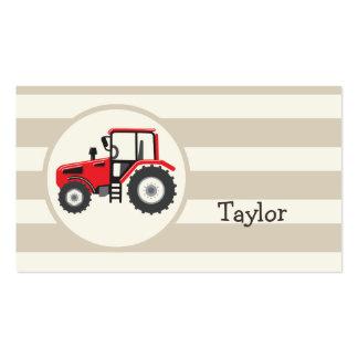 Trator de fazenda vermelho em listras de Tan Cartão De Visita