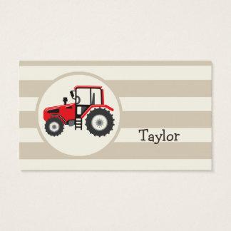Trator de fazenda vermelho em listras de Tan Cartão De Visitas