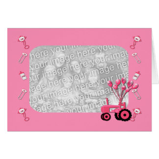 Trator do rosa de bebê com cartão com fotos dos ba