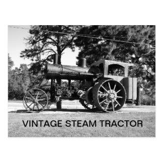 Trator do vapor do vintage Preto branco Foto Cartões Postais