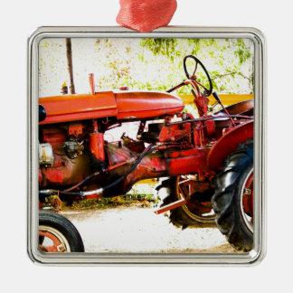 Trator do vermelho do vintage enfeites para arvore de natal