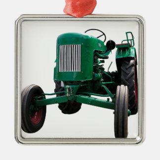 Trator do vintage ornamento quadrado cor prata