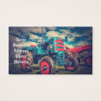 Trator legal do vintage do vermelho azul cartão de visitas