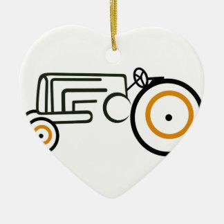 Trator Ornamento De Cerâmica Coração