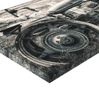 Trator preto e branco do impressão das canvas
