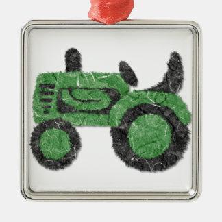 Trator verde gramíneo ornamento quadrado cor prata