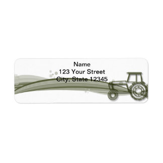 Trator verde moderno no endereço do remetente etiqueta endereço de retorno