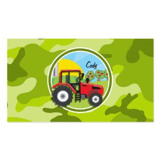 Trator vermelho; camo verde-claro, camuflagem cartoes de visitas