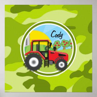 Trator vermelho; camo verde-claro, camuflagem poster