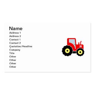 Trator vermelho do brinquedo cartão de visita