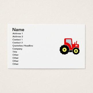 Trator vermelho do brinquedo cartão de visitas