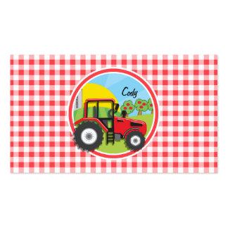 Trator vermelho no guingão vermelho e branco cartão de visita