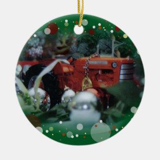 tratores do brinquedo para o Natal 3 Ornamento De Cerâmica Redondo