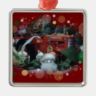tratores do brinquedo para o Natal 4 Ornamento Quadrado Cor Prata