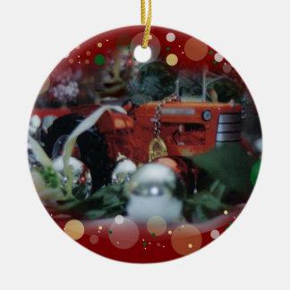tratores do brinquedo para o Natal 4 Ornamento De Cerâmica Redondo