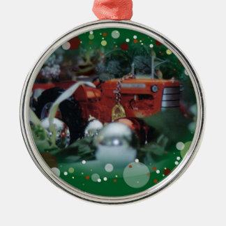 tratores do brinquedo para o Natal 4 Ornamento Redondo Cor Prata