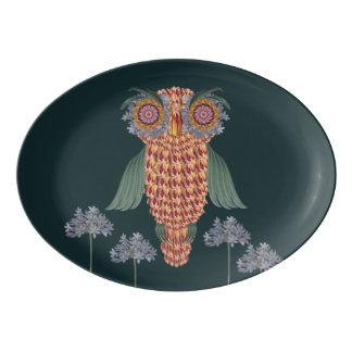 Travessa De Porcelana A coruja da sabedoria e das flores