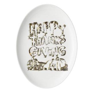 Travessa De Porcelana Abóbora feliz da colheita do ouro da tipografia da