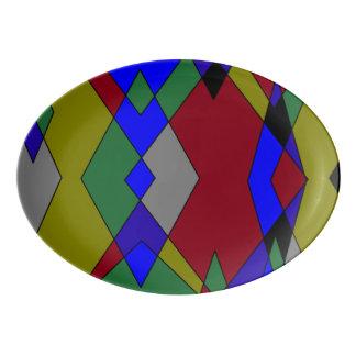 Travessa De Porcelana Abstrato colorido retro do diamante