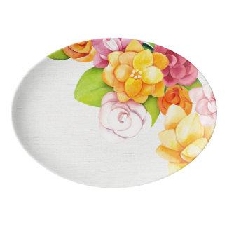 Travessa De Porcelana Aguarela (1) floral brilhante bonito