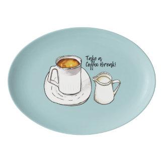 Travessa De Porcelana Aguarela da ruptura de café e ilustração da tinta