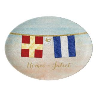 Travessa De Porcelana Aguarela marítima das bandeiras de sinal do
