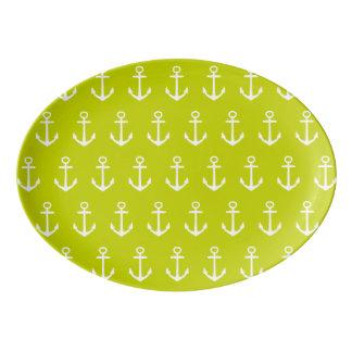 Travessa De Porcelana Âncoras brancas náuticas no verde limão tropical