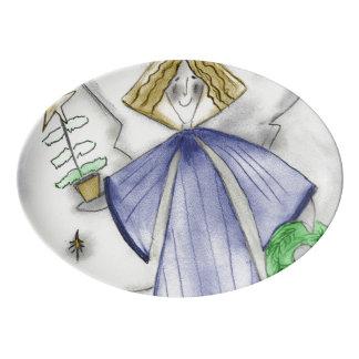 Travessa De Porcelana Anjo azul da modificação