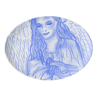 Travessa De Porcelana Anjo calmo no azul