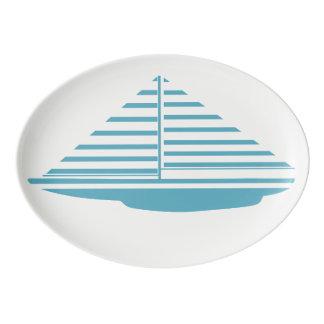 Travessa De Porcelana Aqua do veleiro