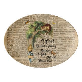 Travessa De Porcelana Arte do dicionário das citações de Alice e de gato
