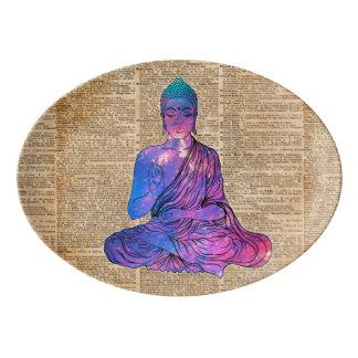 Travessa De Porcelana Arte do dicionário do vintage de Buddha do espaço