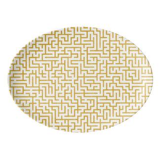 Travessa De Porcelana Arte moderna elegante do labirinto - ouro & branco
