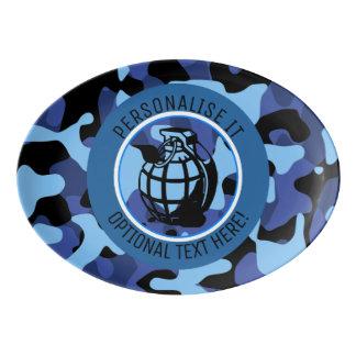 Travessa De Porcelana As forças armadas azuis camuflam com granada
