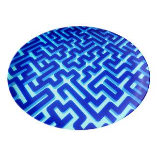 Travessa De Porcelana Azul do labirinto
